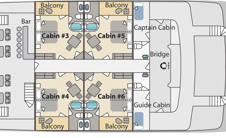 Galapagos Luxury Cruise - Cormorant Yacht - Upper Deck plan